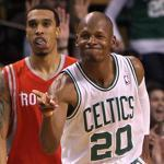 Ray Allen helped point the way to victory with a 3-pointer for an 84-82 lead with 35.4 seconds left in regulation.