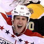 Washington's Brooks Laich celebrated after scoring a power play goal to increase the Capitals' lead in the second period.