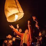 Families released a paper lantern in Natori, Japan, Sunday in honor of victims on the anniversary of the earthquake and tsunami that struck the nation last year.