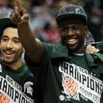 Brandon Wood, left, Draymond Green and the Michigan State Spartans won the Big Ten tournament on Sunday, and then earned the No. 1 seed in the West bracket.