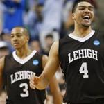 Lehigh's John Adams and C.J. McCollum celebrated after winning the NCAA tournament second-round college basketball game against Duke.
