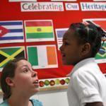 Tutor Annie Query talked with Malia Cajuste at the Match Community Day Charter School in Jamaica Plain.