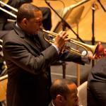 Wynton Marsalis (center) performs with his Jazz at Lincoln Center Orchestra at Symphony Hall.