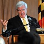 Newt Gingrich spoke at Salisbury University in Salisbury, Md., Tuesday. His campaign said Tuesday that it is curtailing its efforts.