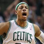 Paul Pierce slammed one down over the Heat's Dwayne Wade in the fourth quarter.