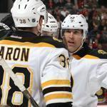 The Bruins celebrated a goal in the first period.