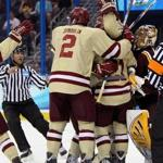 Freshman Johnny Gaudreau (center) gets wrapped up in celebrating one of BC's six goals against Minnesota en route to the Eagles' 18th straight win.