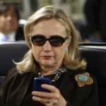 The photo of Hillary Clinton texting that exploded on the Internet.