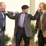 "Will Sasso (Curly), Chris Diamantopoulos (Moe), and Sean Hayes (Larry) in ""The Three Stooges."""