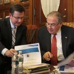BOSTON ,MA 04/ 11/ 2012 : Chairman of Ways and Means Brian Dempsey confers with House Speaker Robert A. DeLeo in his ofice at the Stae House about House budget proposal. ( David L Ryan / Globe Staff Photo ) SECTION: METRO TOPIC 12budget
