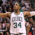 Paul Pierce urged Celtics fans to cheer during the second half.