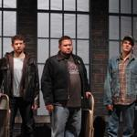 "From left: Steve Gagliastro, Nick Sulfaro, Michael Timothy Howell, Corey Jackson, Andrew Oberstein, and Dan Roach in ""The Full Monty."""