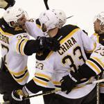 Zdeno Chara made his presence felt in the third period, notching the winning goal and becoming the center of a celebration.