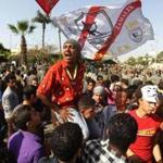 Egyptian protesters shouted slogans during a demonstartion against the interim military leadership outside the defense ministry in Cairo Sunday.