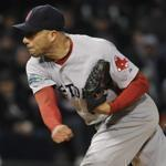 Red Sox manager Bobby Valentine, catcher Jarrod Saltalamacchia and reliever Vicente Padilla met on the mound in the eighth inning against the Chicago White Sox Saturday.