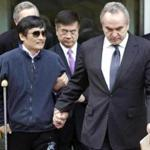 Chen Guangcheng was accompanied by US Assistant Secretary of State for East Asian and Pacific Affairs Kurt Campbell, right, and US Ambassador to China Gary Locke, center, as he left the US embassy in Beijing for a hospital.