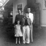 Elizabeth Warren stands with one of her three brothers and her parents in 1955.