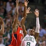 Kevin Garnett's heads-up dunk off a missed layup by Rajon Rondo gave the Celtics an 88-84 lead with 28.1 seconds left in overtime of Game 3, forcing the Hawks to call an immediate timeout.