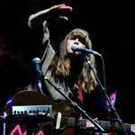 Leslie Feist (pictured last month in Indio, Calif.) and her band Feist played the House of Blues Monday.