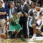 The Celtics' Rajon Rondo lost control after stealing the ball from the Hawks in the final seconds of Game 5.