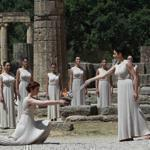 Myth of purity: Actors rehearse for the torch ceremony of the London 2012 Olympic Games at the ancient Olympic site in Greece.