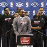 Surrounded by teammates on Saturday, Miami Heat's LeBron James spoke after accepting the NBA MVP trophy in Miami.