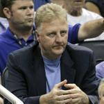 Larry Bird, President of Basketball Operations for the Indiana Pacers, was given the NBA Executive of the Year award by Stu Jackson in Indianapolis on May 17.