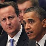 British Prime Minister David Cameron (left) listened as  President Obama speoke during the opening session of the heads of state meeting on Afghanistan at the NATO Summit in Chicago.