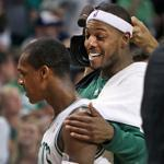 Against the Heat, a lot will fall on the shoulders of Celtics Rajon Rondo (left) and Paul Pierce.