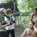 "Anne Makepeace (second from left) filming the Wampanoags in ""We Still Live Here.''"