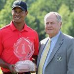 Tiger Woods, left, posed Sunday with Jack Nicklaus after winning the Memorial Tournament in Dublin, Ohio.