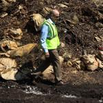 Rob DeRosa, Boston's superintendent of waste reduction, at the site of the tainted compost in Mattapan.