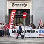 Demonstrators protested layoffs at Spanish bank Banesto. Spain is expected to request European aid for its ailing banks.