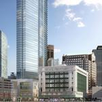 The empty Filene's site (left) and a rendering of the proposed tower (right).
