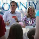 Mitt and Ann Romney scooped ice cream at a campaign event in Milford, N.H. His bus will travel to the swing states of Pennsylvania, Ohio, Wisconsin, and Iowa before ending up in Michigan.