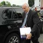 Jerry Sandusky arrived at the Centre County Courthouse in Bellefonte, Pa., Tuesday.