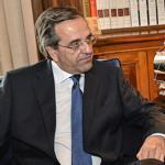 New Democracy party leader, Antonis Samaras (left), met with  Greek President Carolos Papoulias at the presidential palace in central Athens on Wednesday.