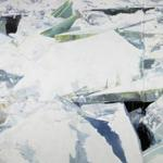"Massachusetts-born painter Eric Aho depicts a collision of ice blocks on black water in ""Ice Field."""