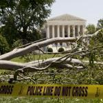 A tree fell on Capitol Hill in Washington Saturday as storms swept into the eastern United States.