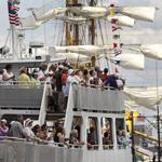 Tourists on the Fort Independence on Thursday viewed tall ships berthed at Fish Pier for Navy Week festivities.