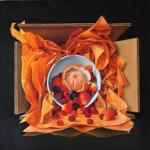 "Above: ""Bowl of Fruit With Flame Orange Tissue, Week #7'' by James Aponovich."