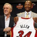 Ray Allen, with Miami Heat president Pat Riley, left, and head coach Erik Spoelstra, officially joined the Heat on Wednesday.