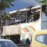 A burnt bus after the explosion at Bulgaria's Burgas airport Wednesday.