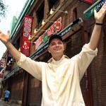 Boston musician Brian Evans outside Fenway Park. His song was selected to be Fenway's 100th anniversary song.