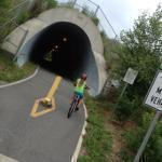 Lila Hempel-Edgers rode her bicycle on the Bruce Freeman Bike Trail.