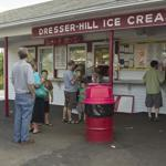 The line at Dresser Hill's ordering windows did not deter customers from buying ice cream at the popular destination.