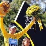 Bradley Wiggins of Britain celebrated his overall victory in the Tour de France.
