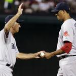 Red Sox starter Felix Doubront (5 IP, 6 R) is pulled by manager Bobby Valentine during the sixth inning.