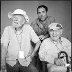 Newport Folk Festival producer Jay Sweet (center) with legendary singer Pete Seeger (left) and the festival's founder, George Wein.