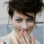 Amanda Palmer welcomes fans to her performance at Momenta Art in Brooklyn, NY.